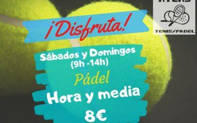 PISTAS DE PADEL                    8€ – 1h y 30min