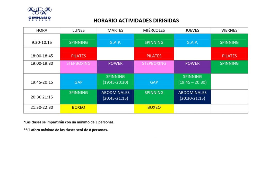 HORARIO ACT. DIRIGIDAS    OCTUBRE