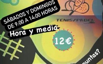 PISTAS DE PADEL                    12€ – 1h y 30min